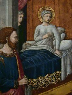 [Renaissance] GIOVANNI FRANCESCO DA RIMINI (Attribué),1440-50 - Vie de la Vierge, La Naissance de la Vierge (Louvre) - Detail 46 -