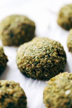 Falafels. Lentils, cilantro + parsley,  garlci, jalapeño, lemon juice, salt, olive oil.