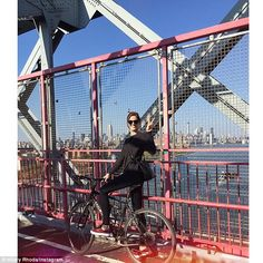 Hilary shared a snap from her bicycle ride to Instagram: 'My 1st ride over the bridge on t...