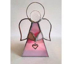 Handmade Stained glass pink angel tealight candle holder
