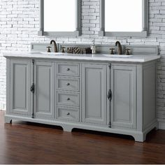 "James Martin Furniture Providence 72"" Double Urban Gray Bathroom Vanity Set"