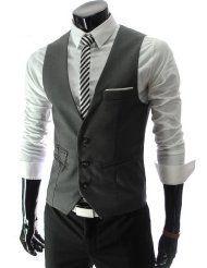 Este traje de chaleco se ve bien. Y la corbata se ve bien. El color del chaleco es de color gris.