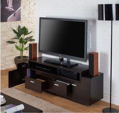 "TV Stand Home Entertainment Media Center 60"" Flat Screen Storage Console Shelves #ContemporaryModern"
