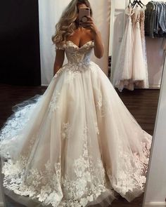 May 2020 - Ivory tulle lace long prom gown formal dress Cute Wedding Dress, Wedding Dress Trends, Princess Wedding Dresses, Dream Wedding Dresses, Bride Dresses, Wedding Ideas, Princess Ball Gowns, Glamorous Wedding Dresses, Vintage Wedding Gowns