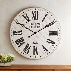 Love this beautiful Whitewashed Shiplap Farmhouse Wall Clock. So rustic and chic. Perfect for my cute country farmhouse. Rustic Wall Clocks, Farmhouse Wall Clocks, Unique Wall Clocks, Wood Clocks, Country Farmhouse Decor, Rustic Walls, Farmhouse Style Decorating, Farmhouse Furniture, Country Furniture