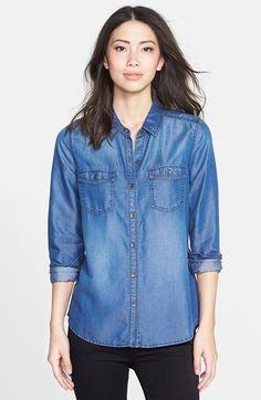 Halogen® Long Sleeve Chambray Shirt (Regular & Petite) | Nordstrom