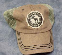 New Hampshire Mesh Adjustable Baseball Hat Cap Velcro Back Live Free or Die Tan #EasternIllustrating #Adjustable