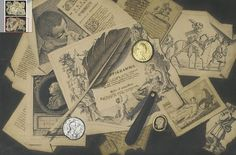 [ A ] Pasquale Angiolini - A trompe-l'oeil of literary extracts, engravings, medallions, spectacles, a pen knife and a quill  by Cea., via Flickr