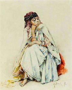 Algérie - Peintre français Alphonse BIRCK (1859-1942), Aquarelle 1892 ,Titre: Jeune Kabyle pensive