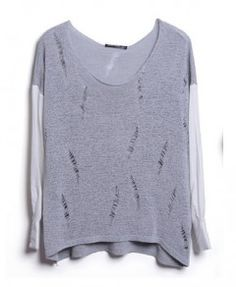 Gray Ripped Jumper with Contrast Blouse Sleeves Panel
