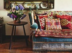 ⋴⍕ Boho Decor Bliss ⍕⋼ bright gypsy color & hippie bohemian mixed pattern home decorating ideas - sofa & pillows | Homes and Antiques