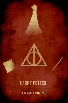 Movie poster vintage poster retro print film poster Harry Potter 16x24 Deathly Hallows. $40.00, via Etsy.