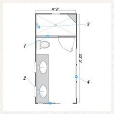 illustration of floor plan after small bath remodel **pocket door