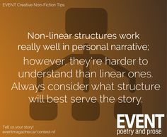 #nonfiction #WritingTips : Non-linear structures work really well in personal narrative; however, they're hard to understand than linear ones. Always consider what structure will best serve the story.