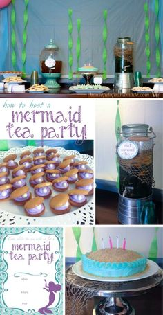 The perfect birthday party for a little girl, a mermaid tea party! Lots of great ideas on how to throw a mermaid tea party with free printables. From Houseful of Handmade. Little Mermaid Tea Party, Little Mermaid Birthday, Tea Party Birthday, 6th Birthday Parties, Birthday Ideas, 4th Birthday, Princess Tea Party, Princess Disney, Princess Birthday
