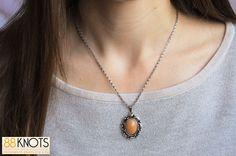 colar com pendente oval com detalhe alaranjado via 88KNOTS. Click on the image to see more!