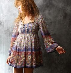 Vintage Dress 1960s Bohemian Hippie India Paisley Thin Gauzy Cotton Baby Doll Dress or Top Bell Sleeves XS on Etsy, $84.00