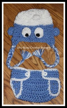Lily-Rose Crochet Designs — Crochet Smurfs Hat & Diaper Cover gift set newborn 0 3 6-12 month 1-3 years $25