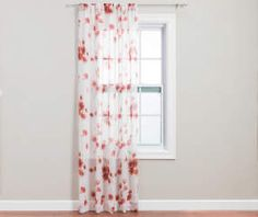 I found a Coral Floral Crushed Voile Sheer Curtain Panel, (84