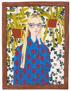 Smoking Girl print by Bijou Karman #print #illustration #fashion #design #walls #decor #apartment #bedroom