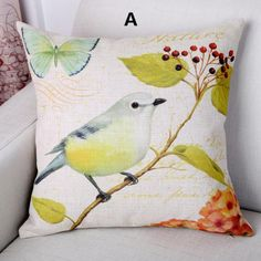 Bird throw pillow decorative home couch cushions linen