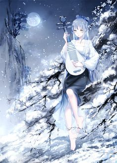 Anime picture vocaloid vocaloid china luo tianyi islandwime long hair single tall image blush fringe green eyes looking away silver hair barefoot bent knee (knees) night bare legs night sky outdoors snow snowing 539583 en Pretty Anime Girl, Beautiful Anime Girl, Oc Manga, Manga Anime, Girls Anime, Manga Girl, Vocaloid, Drawing Faces, Art Drawings