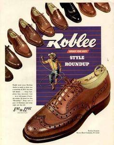 COWBOY  LARIAT IN 1947 ROBLEE MEN'S WINGTIP SHOES AD