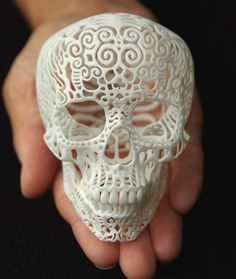 3D printed Día de Muertos skull art