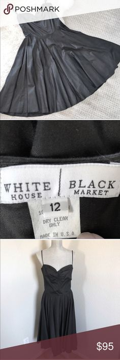 White House Black Market Sweetheart Party Dress 12 White House Black Market Classic Black Sweetheart Neckline Cocktail Dress Spaghetti straps.  Zipper closure.  Sweetheart neckline.  Only worn once.  Beautiful condition.  100% Cotton  Dry clean only.  Made in the USA.  Color: Black Size: 12 WHBM White House Black Market Dresses Midi