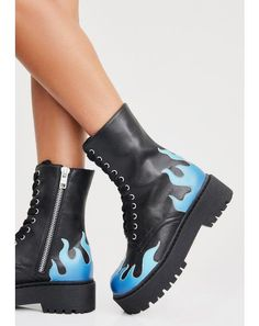Free, fast shipping on Hot As Ice Combat Boots at Dolls Kill, an online boutique for punk and streetwear fashion. Shop Current Mood grunge clothing, lace up leggings, & platform shoes here. Black Heels, Black Boots, 90s Platform Shoes, Dibujos Tumblr A Color, Cropped Wide Leg Jeans, Kawaii Shoes, Lace Up Leggings, Embellished Jeans, Blue Flames