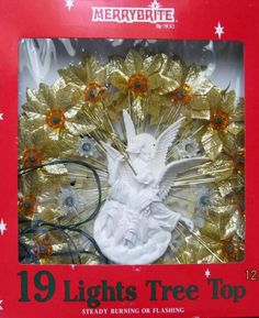 Merry Brite 19 Lights and Angel with Trumpet Tree topper Gold Leaves NIB Taiwan