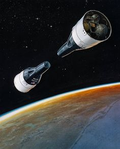 An artist's impression of Gemini VI and VII meeting in orbit. Seriously, there's no such thing as too much Gemini.  Heh. ̶...