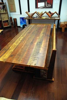 reclaimed wood trestle dining table - Google Search