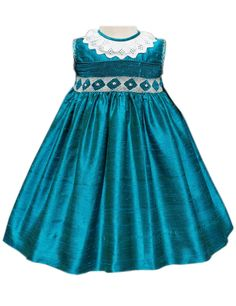 Girls Silk Turquoise Dress – Carousel Wear