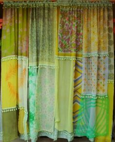 Sew hankies together for a shower curtain.