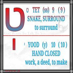ט    TET   (ss)   9    ( 9 ) SNAKE, SURROUND  to surround   י   YOOD   (y)    10   ( 10 ) HAND CLOSED work, a deed, to make