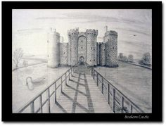 one point perspective art project castles   Original pencil drawing-- hmm could incorporate medieval art and do a castle somehow