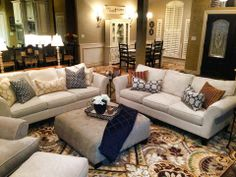 Traditional Style living room at the Coppers, navy, yellow, and hints of green. Colorful yet classy, warm and inviting.