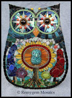 Tree of Life Mosaic Owl by Remygem Mosaics