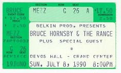Ticket stub for Bruce Hornsby concert at DeVos Hall/Grand Center - July 8, 1990
