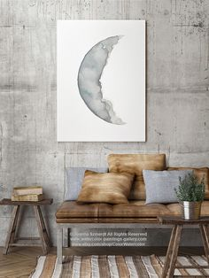 Waxing Crescent Moon Phase Drawing Bedroom Wall Decor. Space Solar System Illustration Living Room Poster. Waning Crescent Moon Phases Art Print. Abstract Minimalist Watercolour Painting. Type of paper: Prints up to (42x29,7cm) 11x16 inch size are printed on Archival Acid Free 270g/m2 White Watercolor Fine Art Paper and retains the look of original painting. Larger prints are printed on 200g/m2 White Semi-Glossy Poster Paper. Colors: Archival high-quality 10-cartridge Canon Lucia...