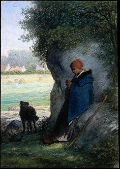 jean francois millet - shepherdess knitting, outside the village of barbizon - 1858