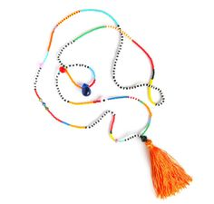 Golden Orange Tassel Necklace Seed Bead Necklace von HippieThings