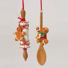 KSA Club Pack of 12 Gingerbread Kisses Rolling Pin & Spoon Christmas Ornaments 5.25