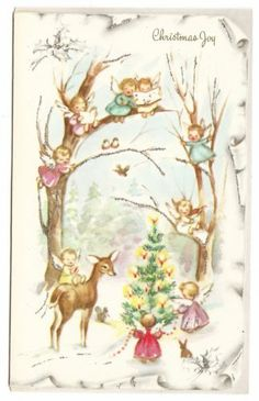 Vintage Glittered Angels in Tree with Deer Christmas Greeting Card
