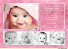 Free Baptism Backgrounds | Butterfly Collage Baptism Thank You Card - Pink & Purple Five Photos