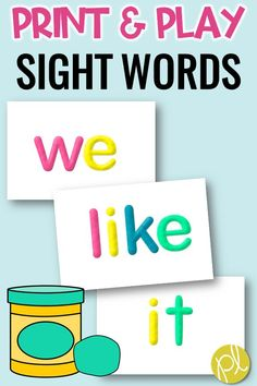 Sight Word Practice  with the easiest centers - print the half-page sight word mats and add playdough! Students will sculpt 100 words taken from the Fry Sight Word list. From Positively Learning Blog #sightwords #playdoughmats #literacycenters