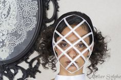 White color Crinoline mask with ribbon end head cage grid for party unique woman size Hoop Skirt, Cage, Grid, Ribbon, Woman, Trending Outfits, Unique Jewelry, Party, Vintage