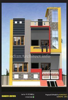 Kailash Namdev : view of 1000 Sqft House Outer Design, House Front Wall Design, Village House Design, Duplex House Plans, Bungalow House Design, Modern House Design, Front Elevation Designs, House Elevation, Modern Bungalow Exterior