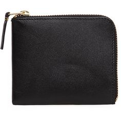 Comme des Garcons Square Side Zip Wallet (€86) ❤ liked on Polyvore featuring bags, wallets, black, clutches, fillers, zip-around wallet, leather coin pouch, real leather wallets, leather pouch and leather pouch wallet